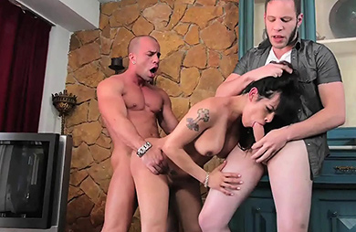 Taking on 2 heavy cocks. Foxxy takes 2 heavy cocks
