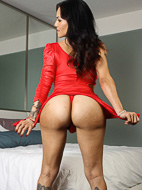 My excited red dress. Seductive Foxxy in hot red dress