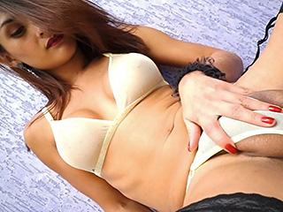 Aline garcia. Horny Aline jerks her large dick & pees